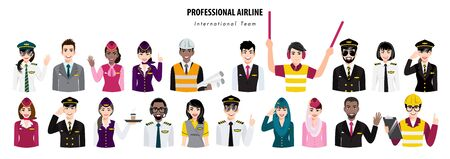 Group of airport crew poses half body banner. Team of professional airline international workers on a white background. Airline staff. Cartoon character design vector Illustration