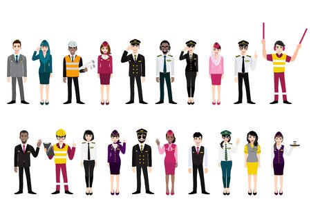 Group of airport crew poses and team of professional airline international workers on a white background. Airline staff. Cartoon character design vector