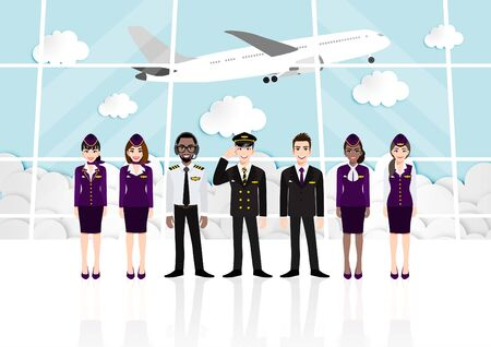 Cartoon with passenger room in airport terminal and professional airline team in uniform , Flat vector illustration.