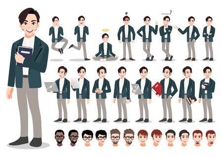 Businessman cartoon character set. Handsome business man in office style smart suit . Vector illustration Vektorgrafik