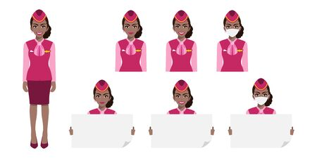 Cartoon character with American African air hostess in pink uniform with smile , medical mask and holding poster template. Set of vector isolated illustrations Ilustración de vector