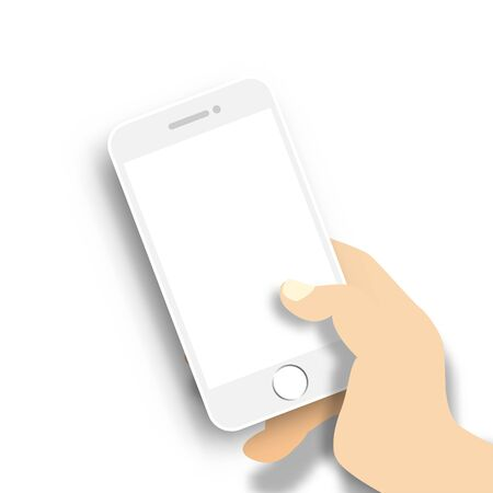Mobile phone mock up with hand holding smartphone vector illustration