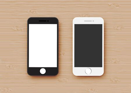 Black and white mobile phone mock up on wood texture background vector