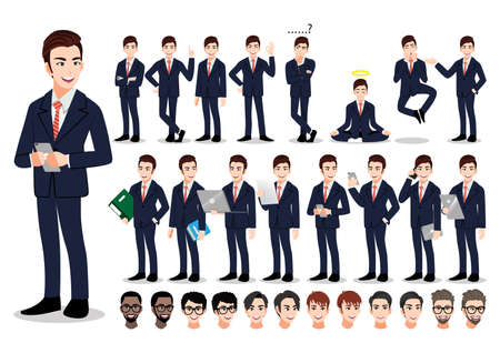 Asian businessman cartoon character set. Handsome business man in office style smart suit . Vector illustration