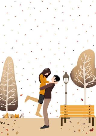 autumn couple standing in autumn garden background vector Çizim