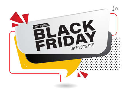 Black Friday sale banner with art text abstract style. Social media vector illustration template for website and mobile website development, email and newsletter design