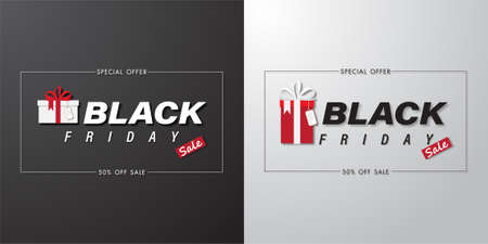 Black friday sale banner set with art text and gift box on white and black background vector illustration Çizim