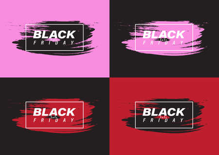 Black friday sale banner set with black, pink and red color paint brushes vector illustration