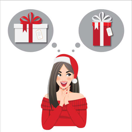 The girl thinking what to present for the New Year, Christmas. cartoon character on a white background looks away and smiles vector