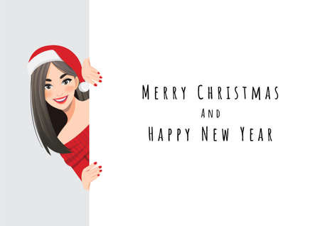Pretty woman in red sweater dress and Santa Claus hat standing behind the white banner cartoon character design vector