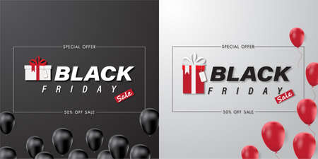 Black Friday sale banner with balloon and abstract background. Social media vector illustration template for website and mobile website development, email and newsletter design Çizim