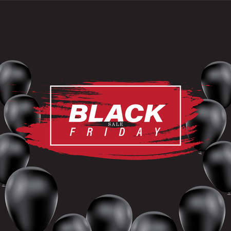 Black Friday sale banner with paintbrush and balloon background. Social media vector illustration template for website and mobile website development, email and newsletter design