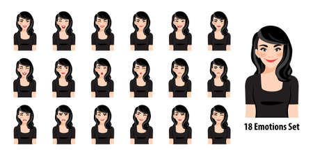 Beautiful lady in black dress with different facial expressions set isolated in cartoon character style vector illustration Çizim