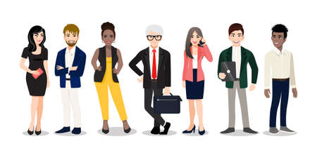 Office workers or business multinational team standing and smiling together. Vector illustration of diverse cartoon men and women of various races, ages and body type in office outfits. Çizim
