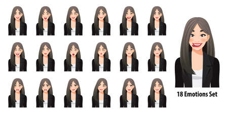 Beautiful business woman in black suit with different facial expressions set