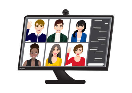 A Group people on computer screen talking with colleague by internet. Çizim
