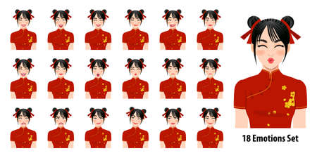 Chinese girl in traditional gown with different facial expressions set Çizim