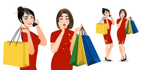 Chinese women in cheongsam dress holding shopping bags cartoon characters. Chinese new year sale concept vector