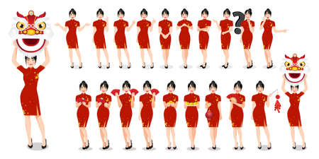 Chinese woman in traditional style clothes set different gestures isolated Chinese new year concept vector illustration