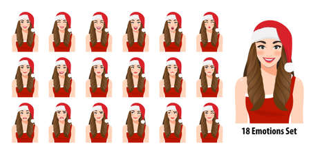 Christmas girl in red dress and christmas santa hat with different facial expressions set isolated in cartoon character style vector illustration Çizim