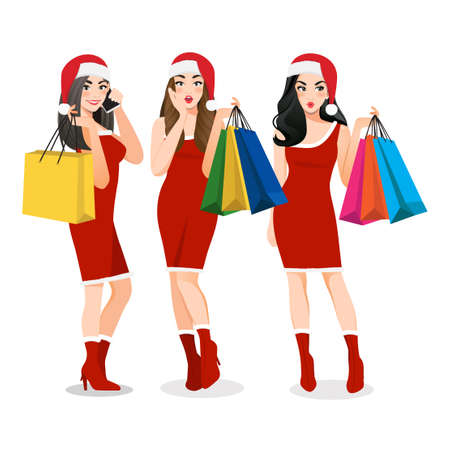 Christmas girl group in red dress holding shopping bags cartoon character. Merry Christmas and Happy new year sale concept vector