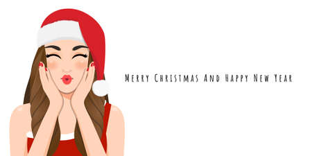 Christmas girl blow a kiss in red dress and christmas santa hat with Happy new year and Merry Christmas festival cartoon character on the white background vector illustration