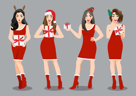 Christmas girl group in red dress holding present boxs cartoon character. Merry Christmas and Happy new year sale concept vector