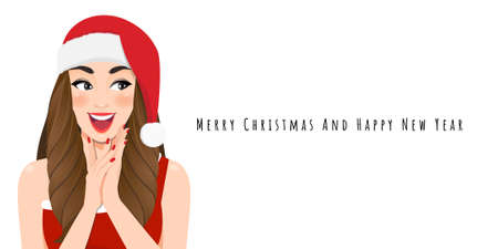 Excited Christmas girl in red dress and christmas santa hat with Happy new year and Merry Christmas festival cartoon character on the white background vector illustration