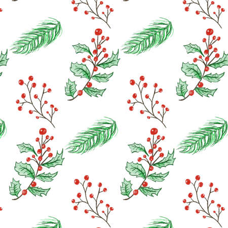 Merry Christmas and happy new year festival with Christmas plant watercolor pattern vector