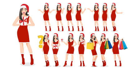 Christmas girl group in red dress style cartoon character set different gestures isolated. Merry Christmas and Happy new year concept vector illustration