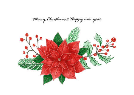 Merry Christmas and happy new year festival with poinsettia flower or Christmas Star and Christmas plant watercolor background vector