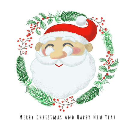Merry Christmas and Happy New Year Card design with Santa clause in Christmas wreath vector illustration