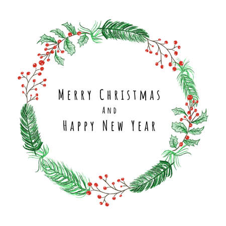 Merry Christmas and Happy New Year Card design with Christmas wreath vector illustration Çizim