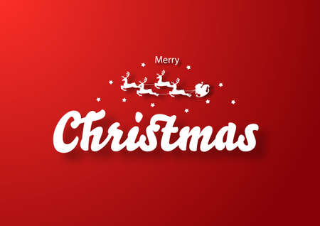 Calligraphic Merry Christmas lettering and Santa Claus sleigh Reindeers on a red background. Vector illustration template