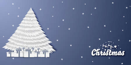 Merry Christmas and Happy new year backgroud with Christmas tree and gift box vector Çizim
