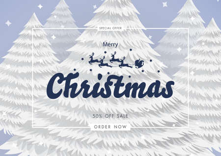 Merry Christmas and Happy new year background with calligraphic lettering and Santa claus sleigh Reindeers on Christmas tree background. Vector illustration template
