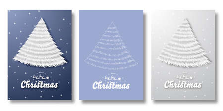 Happy new year and Merry Christmas card with various type of Christmas tree vector illustration