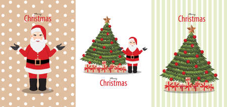 Merry Christmas and Happy new year card with Santa Clause and Christmas tree vector Çizim