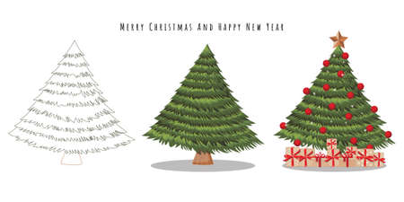 Happy new year and Merry Christmas festival with various type of Christmas tree on white background vector illustration Çizim
