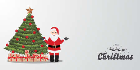 Merry Christmas and Happy new year backgroud with Christmas tree, Santa Claus, and gift box vector