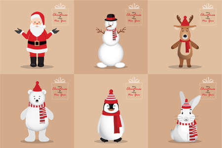 Happy new year and Merry Christmas card with Santa Clause, Snowman, Penguin, White bear, Rabbit, and Deer on brown background cartoon character design vector illustration