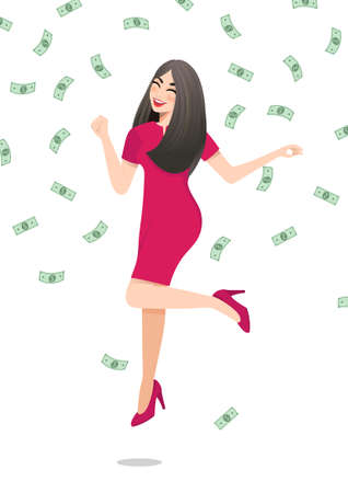 Cartoon character with Happy businesswoman jumping surrounded by green money bills falling on white background. Successful business concept vector