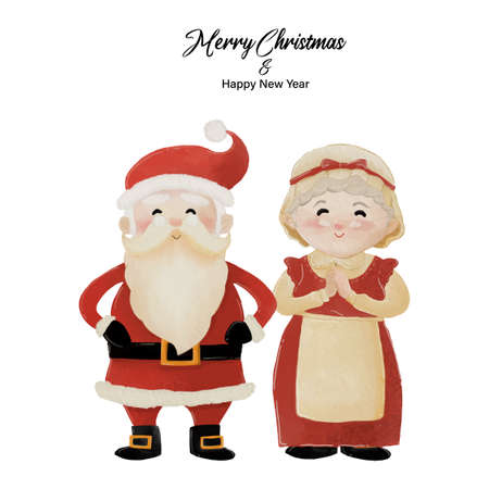Merry Christmas and Happy New Year with Santa Claus and his wife Mrs. Claus standing together. Watercolor design on white background vector illustration Ilustração
