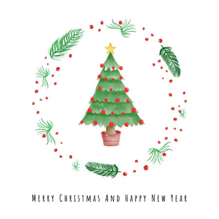 Merry Christmas and Happy New Year Card design with Christmas tree in plant wreath vector illustration
