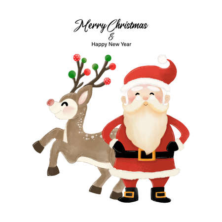 Merry Christmas and Happy New Year with Santa Claus and Reindeer. Watercolor design on white background vector illustration Çizim