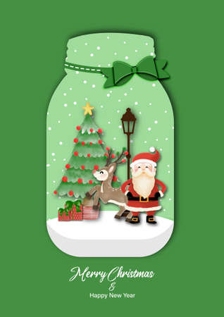 Merry Christmas and Happy New Year with Santa Claus and Reindeer standing  in Glass Bottle. Watercolor design on white background vector illustration Çizim