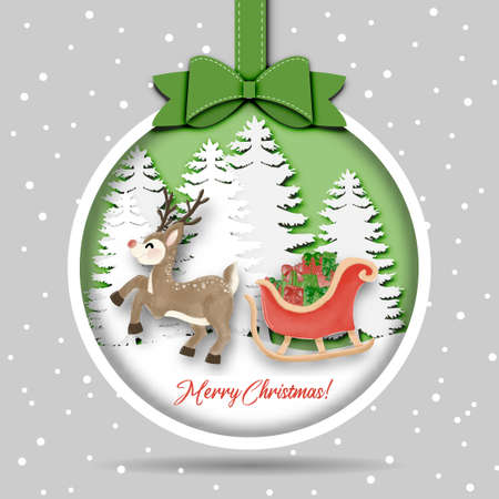 Merry Christmas and Happy New Year with Reindeer Sleigh and gift box in snow jungle vector and illustration