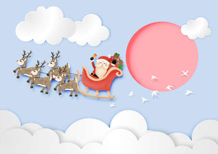 Merry Christmas and Happy New Year with Santa Claus and Reindeer Sleigh the sky in day time vector and illustration Çizim