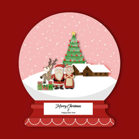 Merry Christmas and Happy New Year with Santa, Mrs Claus and Reindeer standing in snow globe. Watercolor design on white background vector illustration