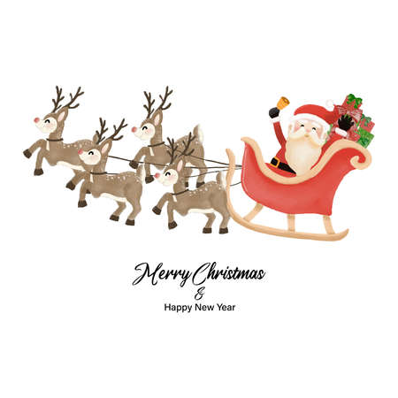 Merry Christmas and Happy New Year with Santa Claus and Reindeer Sleigh. Watercolor design on white background vector illustration Çizim
